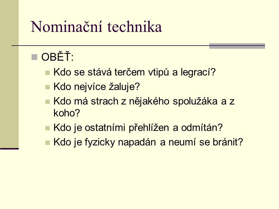 Nominační technika OBĚŤ: Kdo se stává terčem vtipů a legrací? Kdo nejvíce žaluje? Kdo má strach z nějakého spolužáka a z koho? Kdo je ostatními přehlí