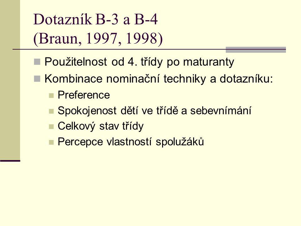 Dotazník B-3 a B-4 (Braun, 1997, 1998) Použitelnost od 4. třídy po maturanty Kombinace nominační techniky a dotazníku: Preference Spokojenost dětí ve