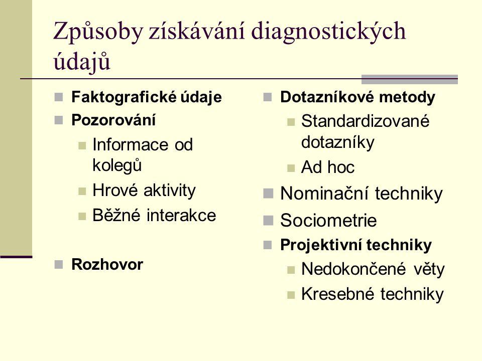 Způsoby získávání diagnostických údajů Faktografické údaje Pozorování Informace od kolegů Hrové aktivity Běžné interakce Rozhovor Dotazníkové metody S