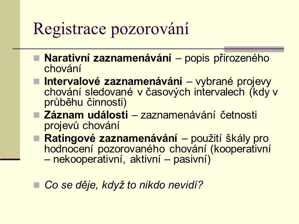 Registrace pozorování Narativní zaznamenávání – popis přirozeného chování Intervalové zaznamenávání – vybrané projevy chování sledované v časových int