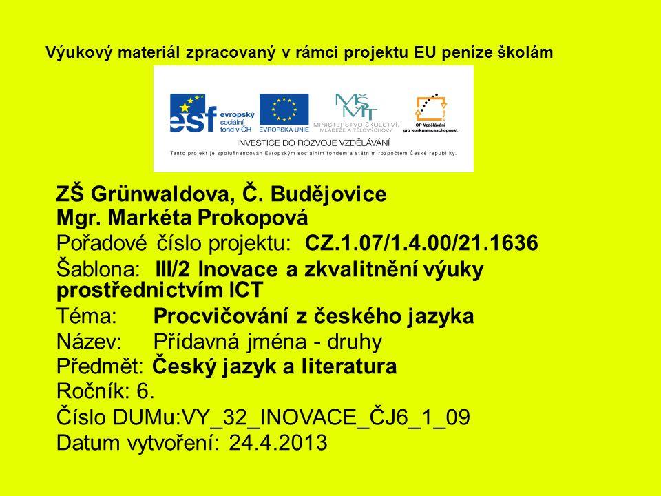ZŠ Grünwaldova, Č. Budějovice Mgr.