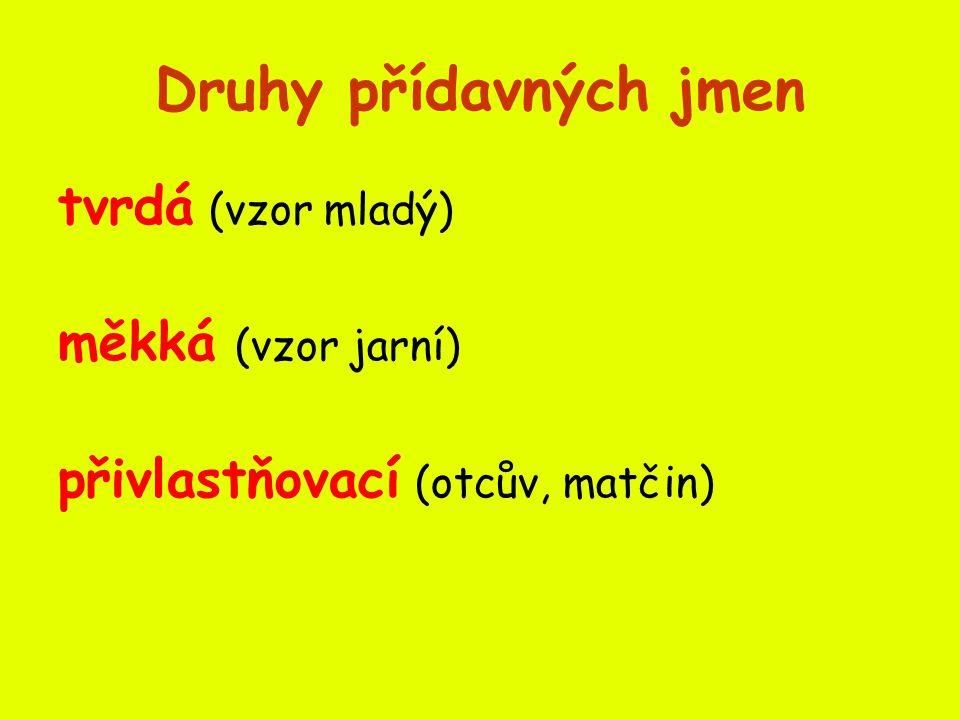 Druhy přídavných jmen tvrdá (vzor mladý) měkká (vzor jarní) přivlastňovací (otcův, matčin)