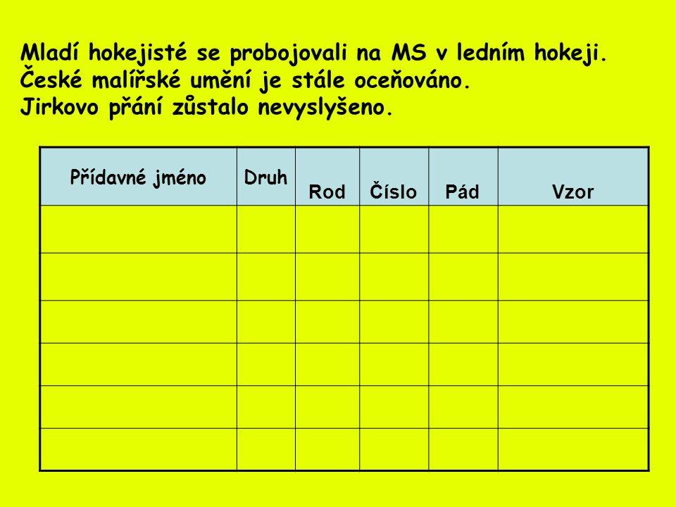 Přídavné jménoDruhRodČísloPádVzor mladí tvrdémuž.množ.1.mladí ledním měk ké muž.jed.6.jarní české tvrdéstř.jed.1.mladý malířské tvrdéstř.jed.1.