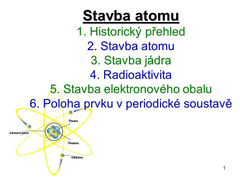 1 Stavba atomu Stavba atomu 1. Historický přehled 2. Stavba atomu 3. Stavba jádra 4. Radioaktivita 5. Stavba elektronového obalu 6. Poloha prvku v per