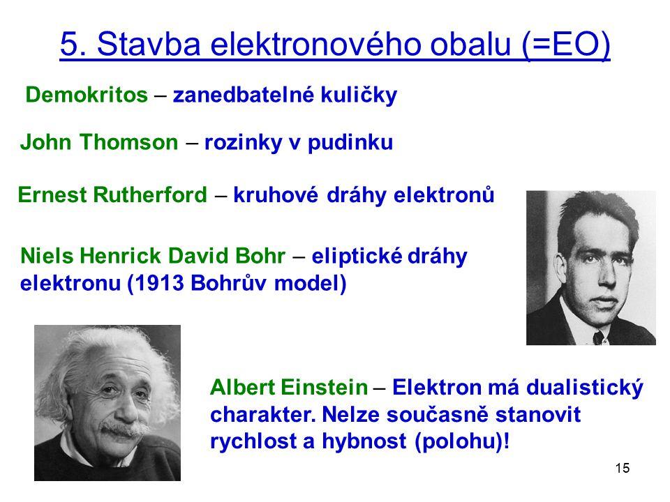 15 5. Stavba elektronového obalu (=EO) John Thomson – rozinky v pudinku Ernest Rutherford – kruhové dráhy elektronů Niels Henrick David Bohr – eliptic