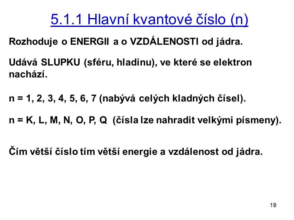 19 5.1.1 Hlavní kvantové číslo (n) Rozhoduje o ENERGII a o VZDÁLENOSTI od jádra. Udává SLUPKU (sféru, hladinu), ve které se elektron nachází. n = 1, 2