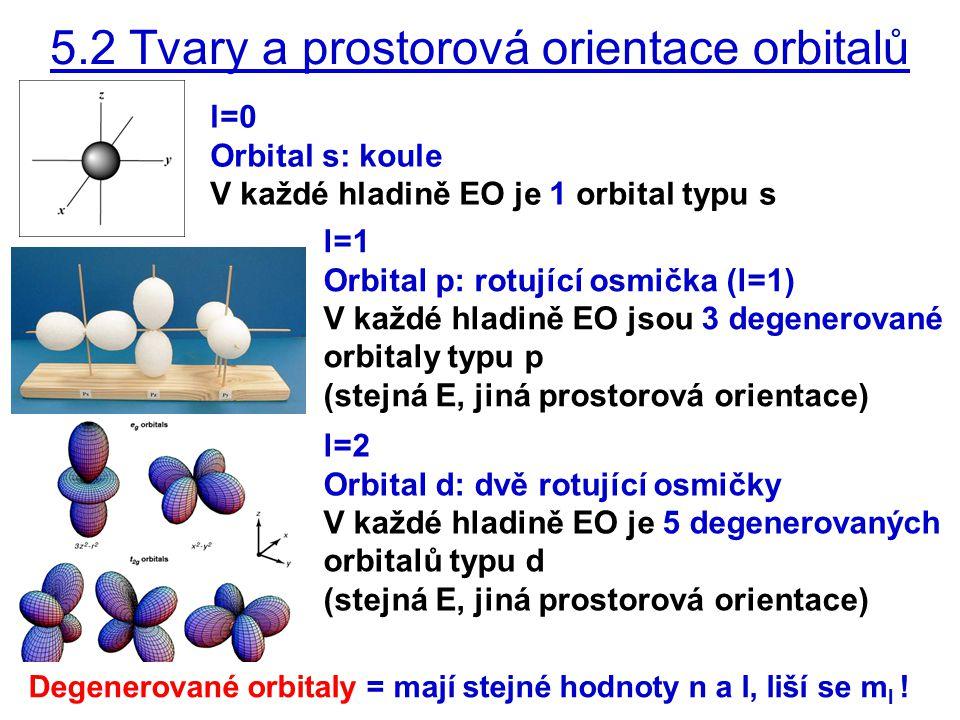 5.2 Tvary a prostorová orientace orbitalů l=0 Orbital s: koule V každé hladině EO je 1 orbital typu s l=1 Orbital p: rotující osmička (l=1) V každé hladině EO jsou 3 degenerované orbitaly typu p (stejná E, jiná prostorová orientace) l=2 Orbital d: dvě rotující osmičky V každé hladině EO je 5 degenerovaných orbitalů typu d (stejná E, jiná prostorová orientace) Degenerované orbitaly = mají stejné hodnoty n a l, liší se m l !