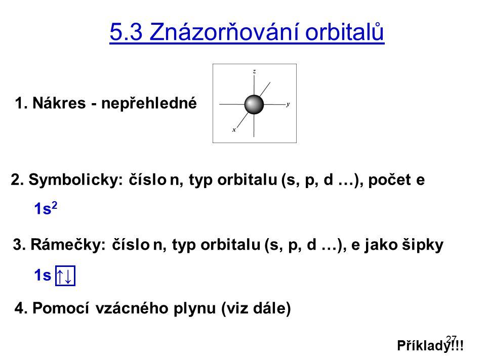 27 5.3 Znázorňování orbitalů 4. Pomocí vzácného plynu (viz dále) 1. Nákres - nepřehledné 2. Symbolicky: číslo n, typ orbitalu (s, p, d …), počet e 3.