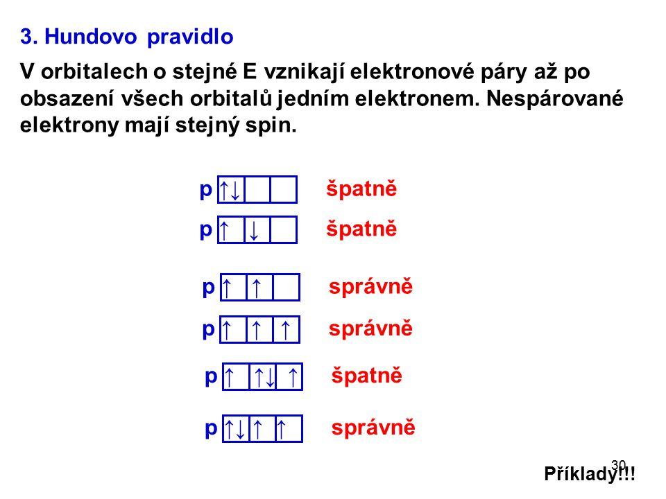 30 Příklady!!! 3. Hundovo pravidlo V orbitalech o stejné E vznikají elektronové páry až po obsazení všech orbitalů jedním elektronem. Nespárované elek