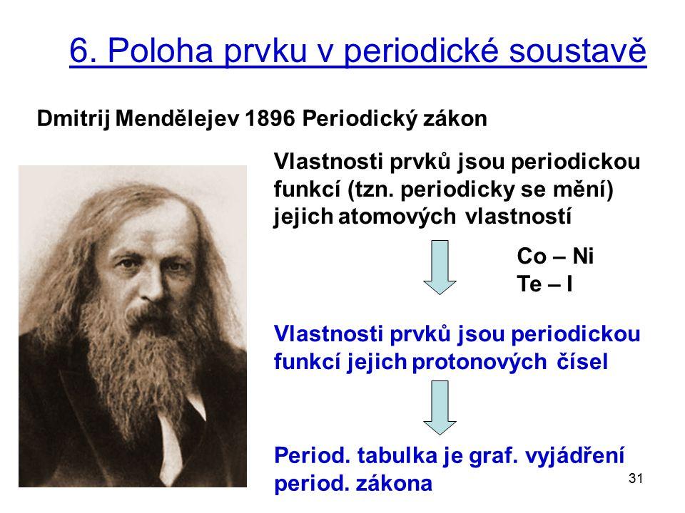 31 6. Poloha prvku v periodické soustavě Vlastnosti prvků jsou periodickou funkcí jejich protonových čísel Dmitrij Mendělejev 1896 Periodický zákon Vl