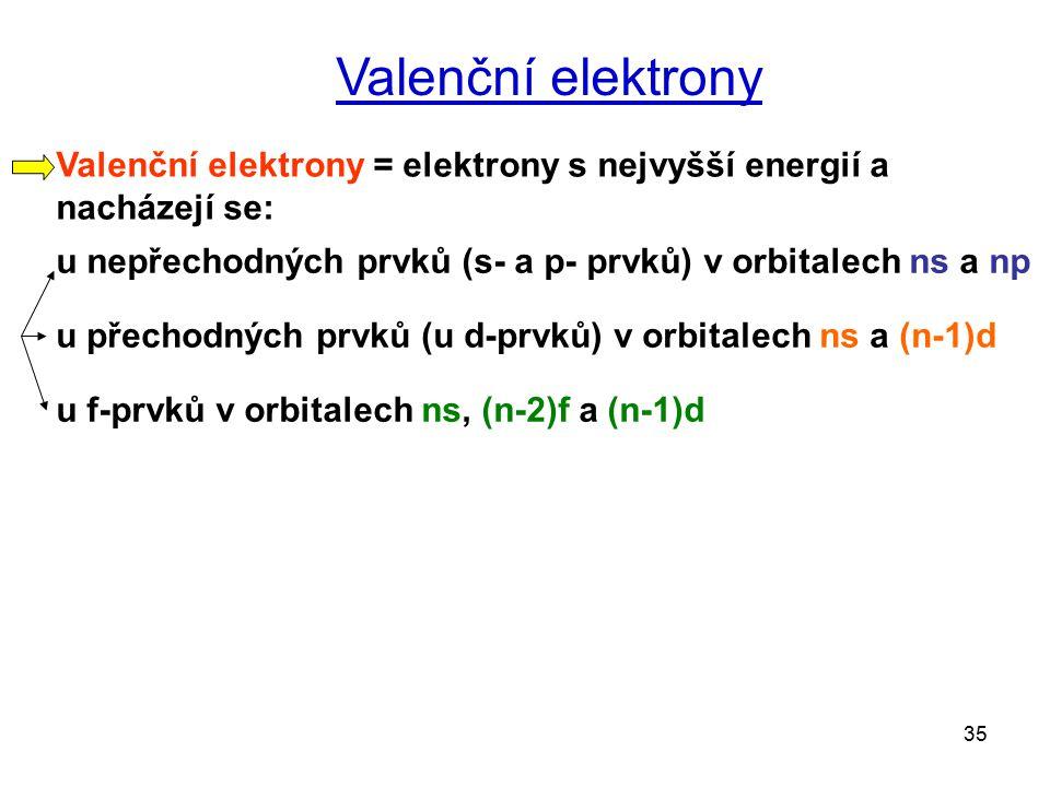35 Valenční elektrony Valenční elektrony = elektrony s nejvyšší energií a nacházejí se: u nepřechodných prvků (s- a p- prvků) v orbitalech ns a np u přechodných prvků (u d-prvků) v orbitalech ns a (n-1)d u f-prvků v orbitalech ns, (n-2)f a (n-1)d
