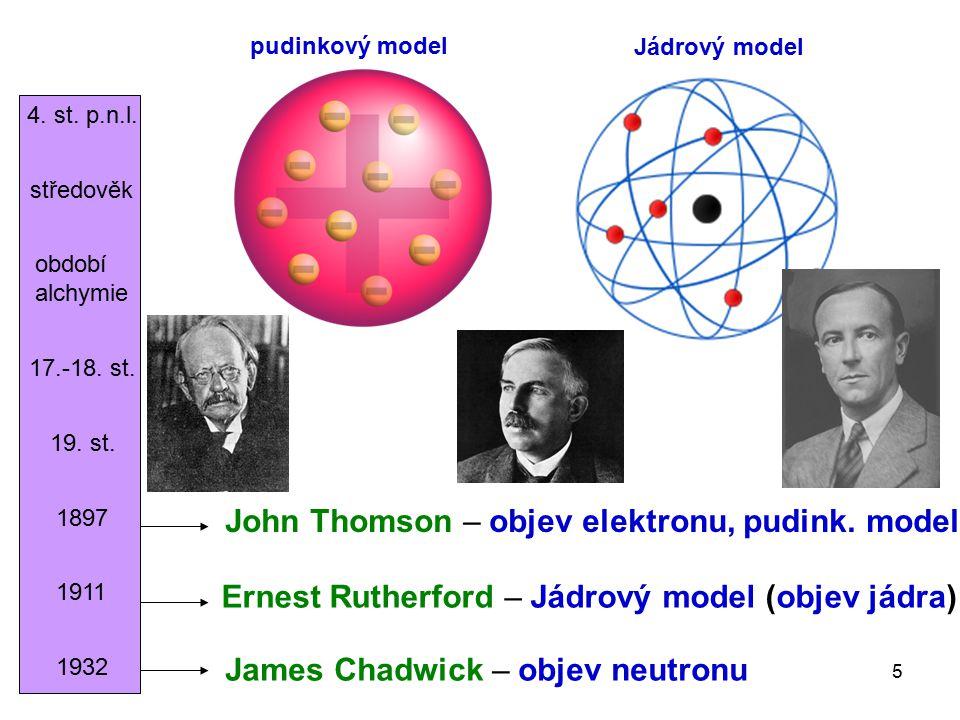 5 4. st. p.n.l. středověk období alchymie 17.-18. st. 19. st. 1897 John Thomson – objev elektronu, pudink. model Ernest Rutherford – Jádrový model (ob