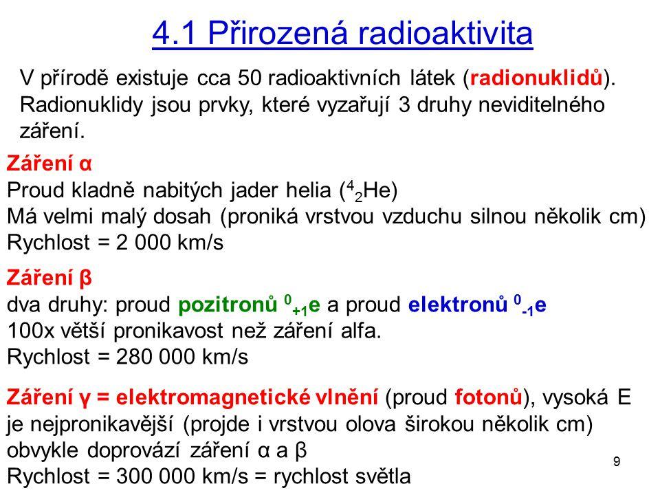 9 4.1 Přirozená radioaktivita V přírodě existuje cca 50 radioaktivních látek (radionuklidů). Radionuklidy jsou prvky, které vyzařují 3 druhy neviditel
