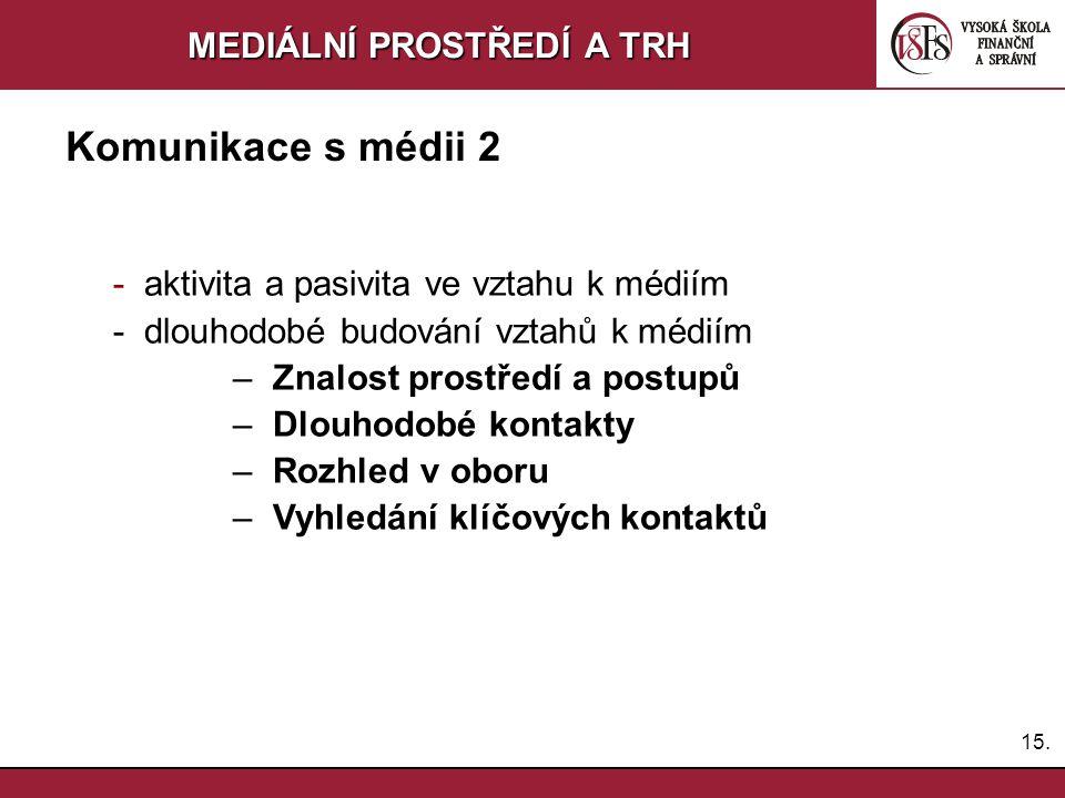 14.MEDIÁLNÍ PROSTŘEDÍ A TRH Komunikace s médii 1 Komunikovat – ANO nebo NE.