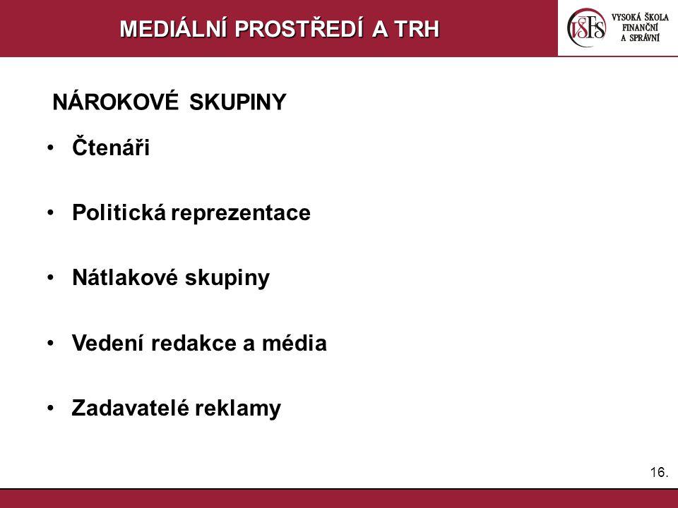 15. MEDIÁLNÍ PROSTŘEDÍ A TRH Komunikace s médii 2 - aktivita a pasivita ve vztahu k médiím - dlouhodobé budování vztahů k médiím –Znalost prostředí a
