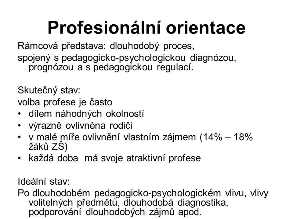 Profesionální orientace Rámcová představa: dlouhodobý proces, spojený s pedagogicko-psychologickou diagnózou, prognózou a s pedagogickou regulací.