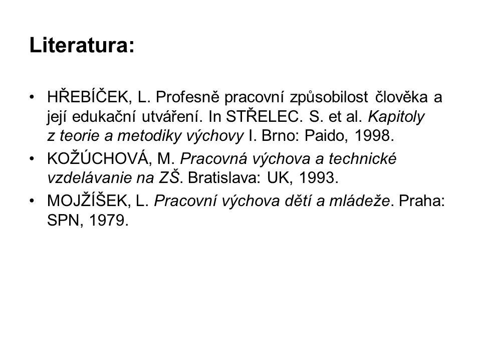 Literatura: HŘEBÍČEK, L.Profesně pracovní způsobilost člověka a její edukační utváření.