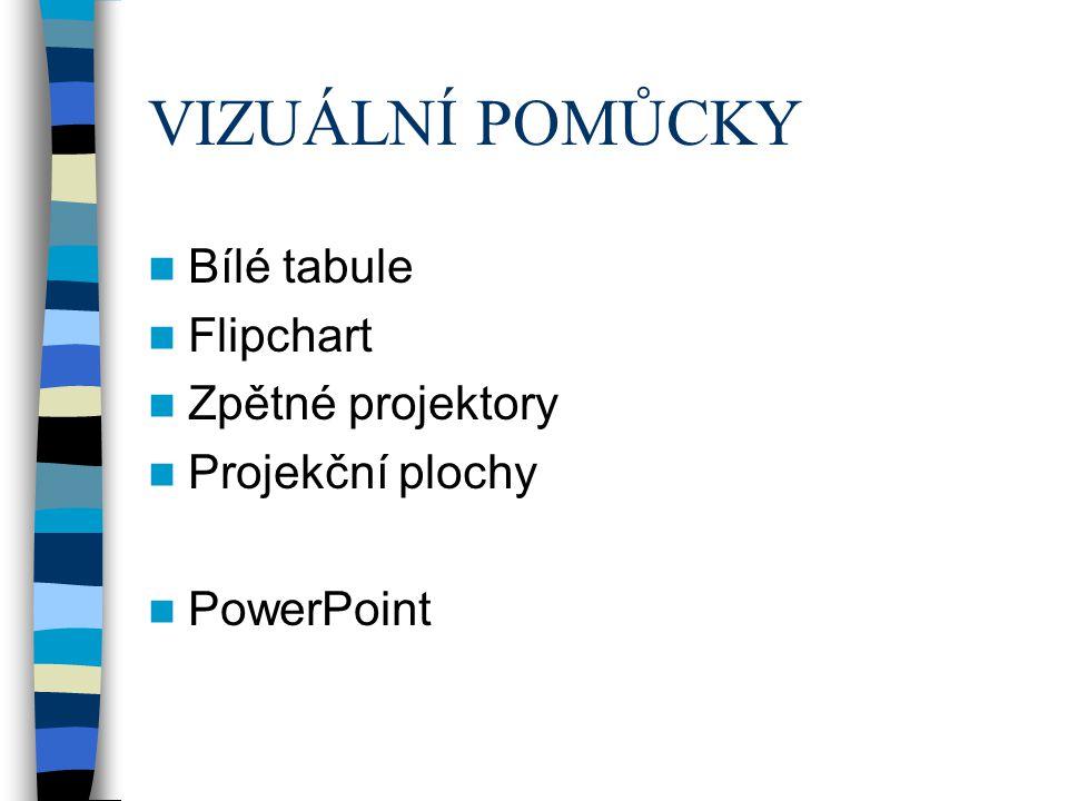 VIZUÁLNÍ POMŮCKY Bílé tabule Flipchart Zpětné projektory Projekční plochy PowerPoint