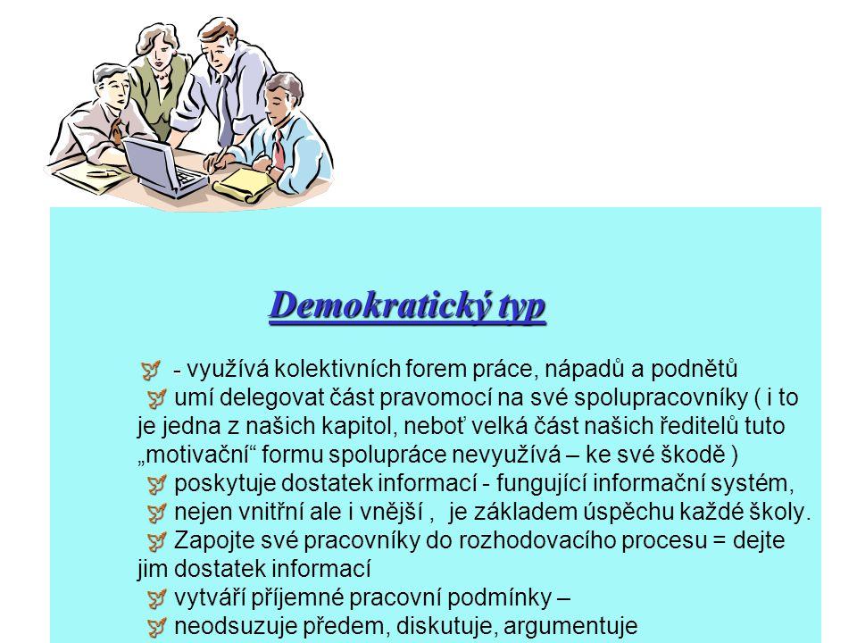 Demokratický typ  -       Demokratický typ  - využívá kolektivních forem práce, nápadů a podnětů  umí delegovat část pravomocí na své spolupr