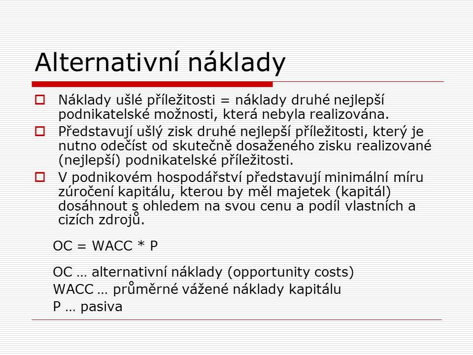 Průměrné vážené náklady kapitálu  diskontovaná sazba nebo časová hodnota peněz, používaná k přepočtu očekávaného budoucího příjmu na současnou hodnotu všech investorů Při výpočtech WACC se lze setkat se dvěma základními přístupy, které se liší svým pohledem na podnik a jeho kapitálovou strukturu: 1.Předpoklad závislosti WACC na kapitálové struktuře podniku 2.Předpoklad nezávislosti WACC na kapitálové struktuře podniku (WACC = náklady na vlastní kapitál)