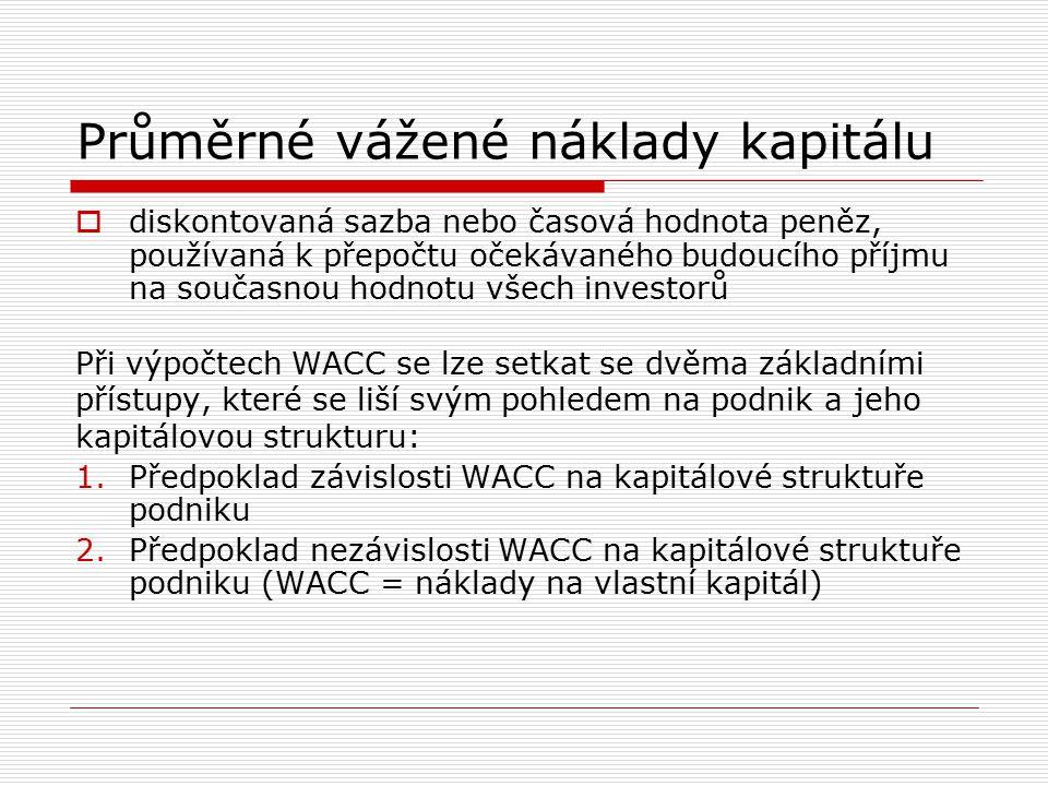 Průměrné vážené náklady kapitálu Konstrukce WACC dle prvního přístupu: Úročené cizí zdroje i vlastní kapitál by měly být vyjádřeny v tržních cenách!