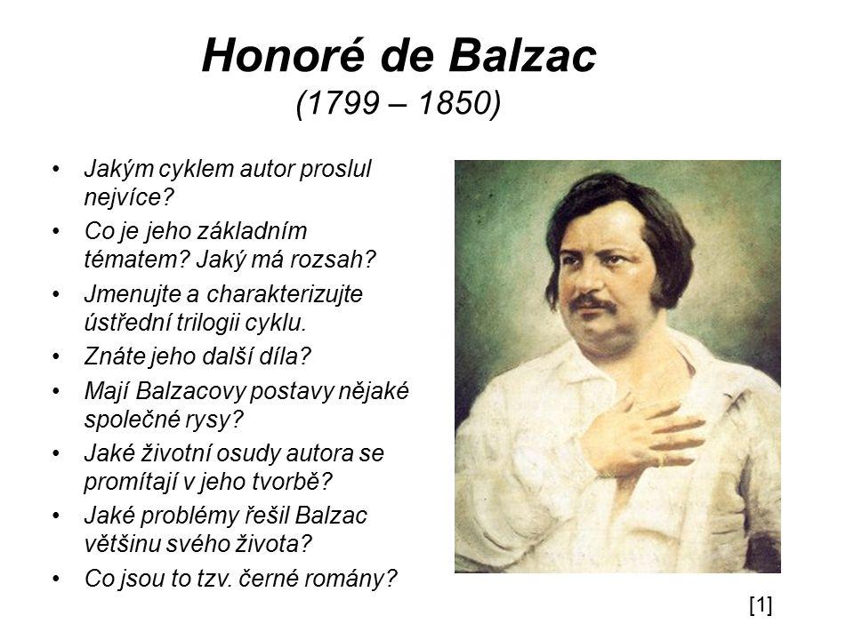 Honoré de Balzac (1799 – 1850) Jakým cyklem autor proslul nejvíce.