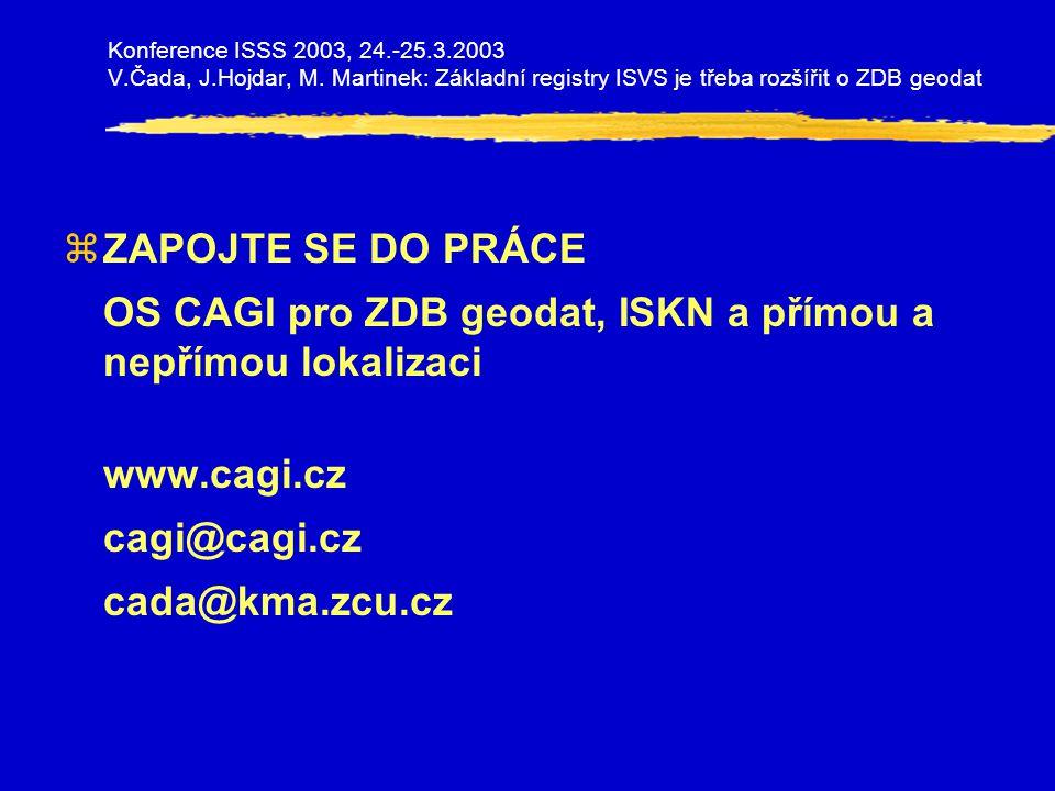 zZAPOJTE SE DO PRÁCE OS CAGI pro ZDB geodat, ISKN a přímou a nepřímou lokalizaci www.cagi.cz cagi@cagi.cz cada@kma.zcu.cz Konference ISSS 2003, 24.-25