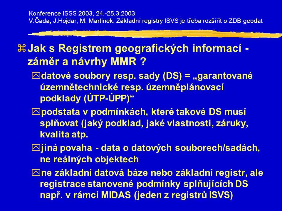 """zJak s Registrem geografických informací - záměr a návrhy MMR ? ydatové soubory resp. sady (DS) = """"garantované územnětechnické resp. územněplánovací p"""