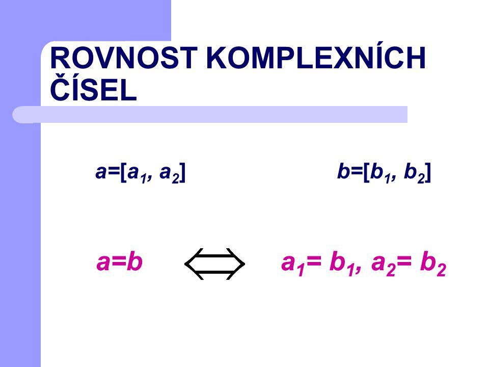 ROVNOST KOMPLEXNÍCH ČÍSEL a=[a 1, a 2 ] b=[b 1, b 2 ] a 1 = b 1, a 2 = b 2 a=b