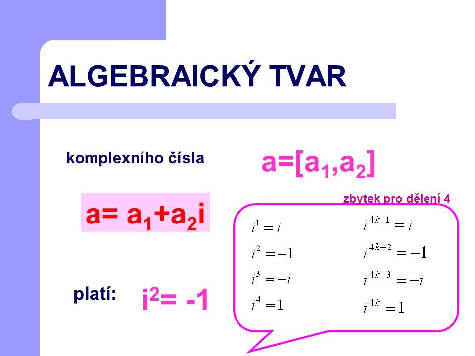 ALGEBRAICKÝ TVAR komplexního čísla a= a 1 +a 2 i a=[a 1,a 2 ] platí: i 2 = -1 zbytek pro dělení 4