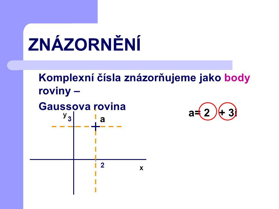 K PROCVIČENÍ Znázorni v Gaussově rovině tato komplexní čísla: a=-3-2i b=1-i c=4+2i d=-5+i x y + + + + d a b c