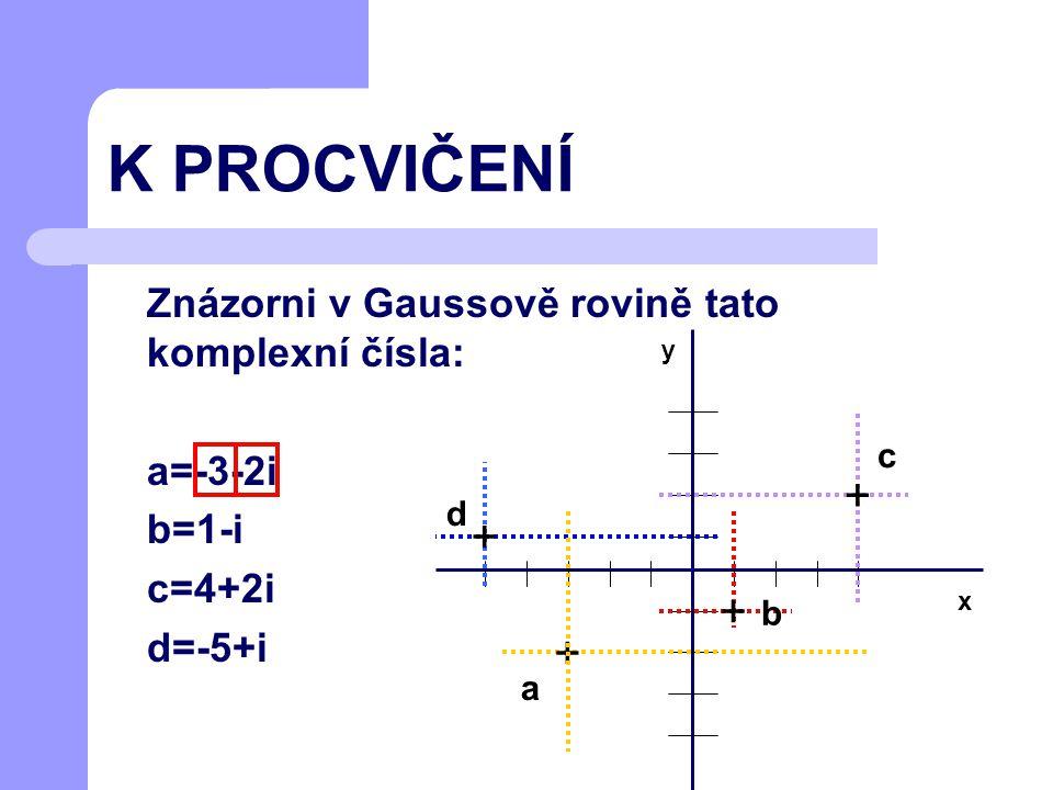 Příklad Daná komplexní čísla převeď na definiční tvar a zobraz do Gaussovy roviny