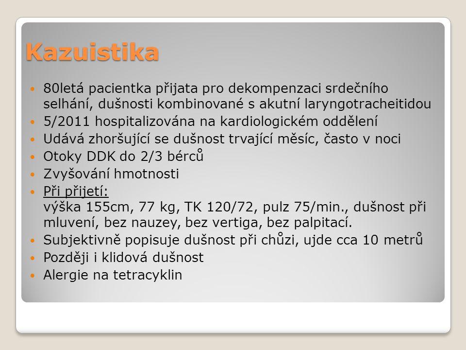Kazuistika 80letá pacientka přijata pro dekompenzaci srdečního selhání, dušnosti kombinované s akutní laryngotracheitidou 5/2011 hospitalizována na ka
