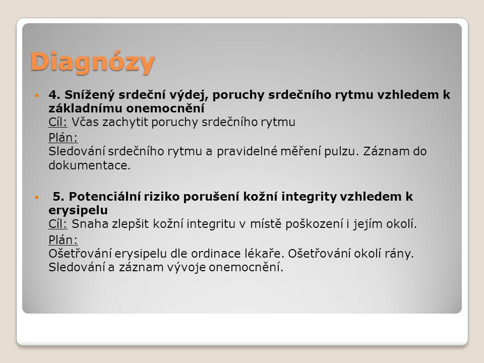 Diagnózy 6.Potenciální riziko infekčních komplikací vzhledem k zavedení PŽK, PMK.