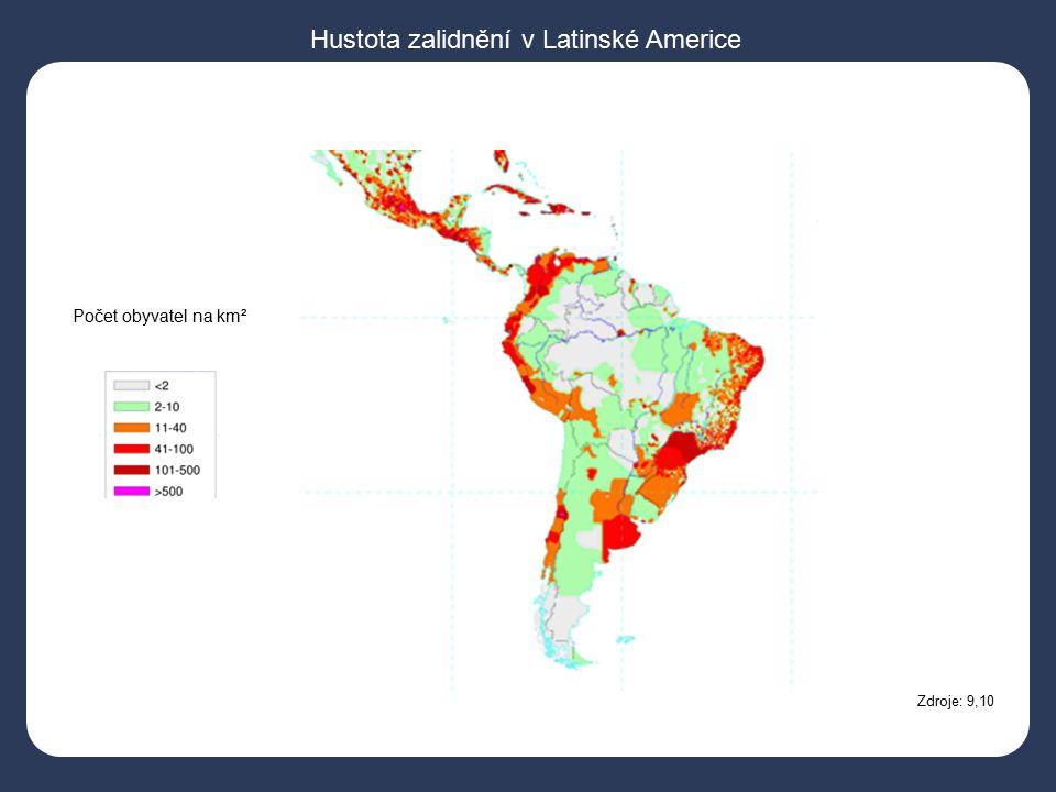 Zdroje: 9,10 Počet obyvatel na km² Hustota zalidnění v Latinské Americe