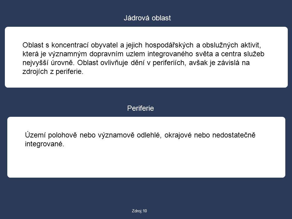 Zdroj:10 Jádrová oblast Oblast s koncentrací obyvatel a jejich hospodářských a obslužných aktivit, která je významným dopravním uzlem integrovaného sv