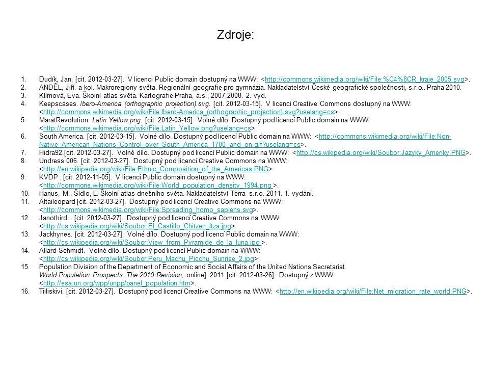 1.Dudík, Jan. [cit. 2012-03-27]. V licenci Public domain dostupný na WWW:.http://commons.wikimedia.org/wiki/File:%C4%8CR_kraje_2005.svg 2.ANDĚL, Jiří.