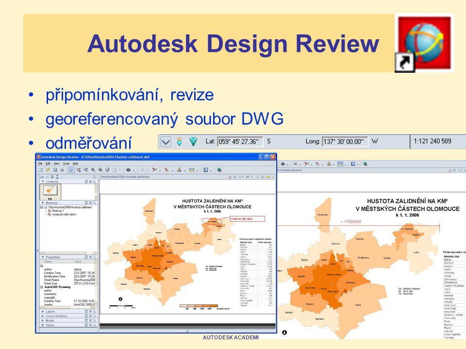 AUTODESK ACADEMIA FORUM 2007 Autodesk Design Review připomínkování, revize georeferencovaný soubor DWG odměřování