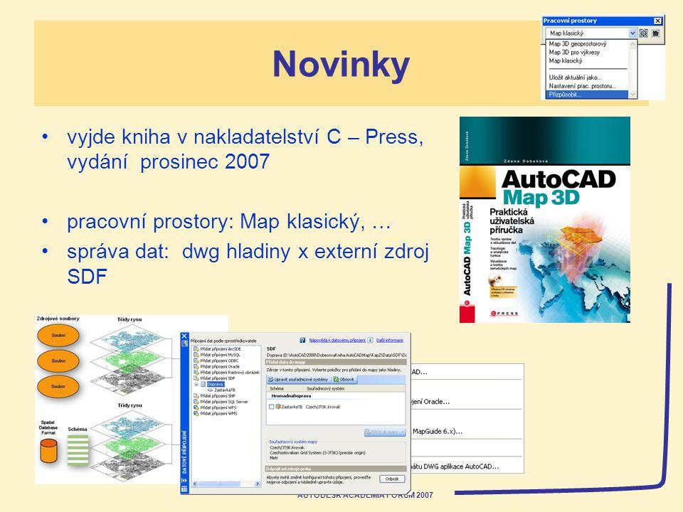 AUTODESK ACADEMIA FORUM 2007 Novinky vyjde kniha v nakladatelství C – Press, vydání prosinec 2007 pracovní prostory: Map klasický, … správa dat: dwg hladiny x externí zdroj SDF