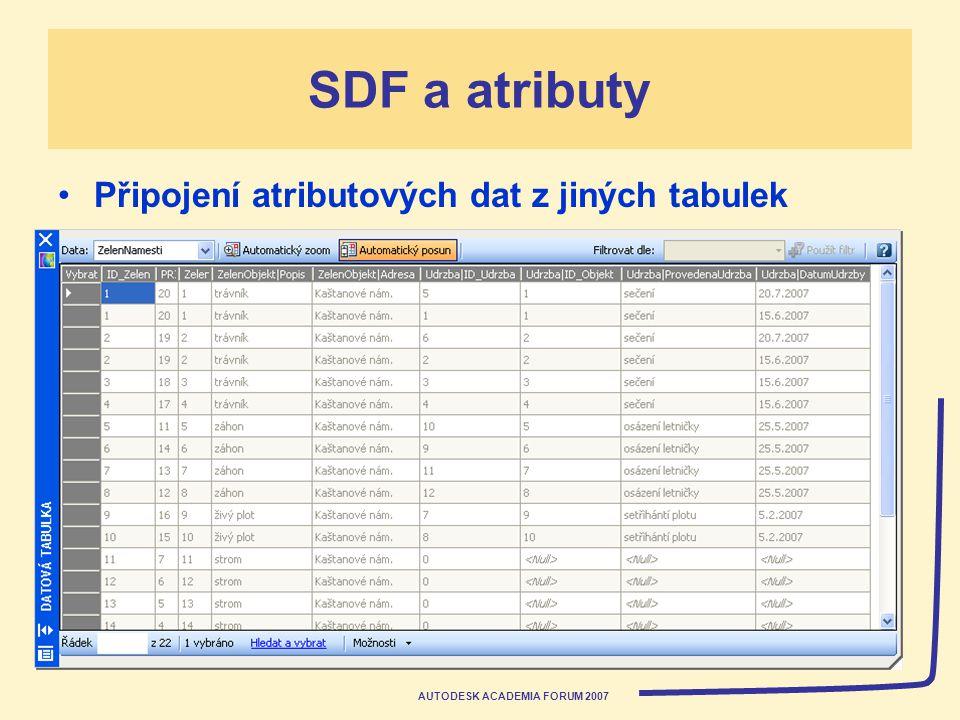 AUTODESK ACADEMIA FORUM 2007 SDF a atributy Připojení atributových dat z jiných tabulek