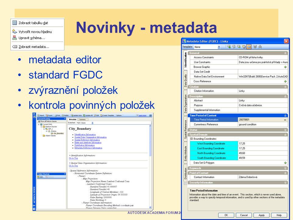 AUTODESK ACADEMIA FORUM 2007 Novinky - metadata metadata editor standard FGDC zvýraznění položek kontrola povinných položek
