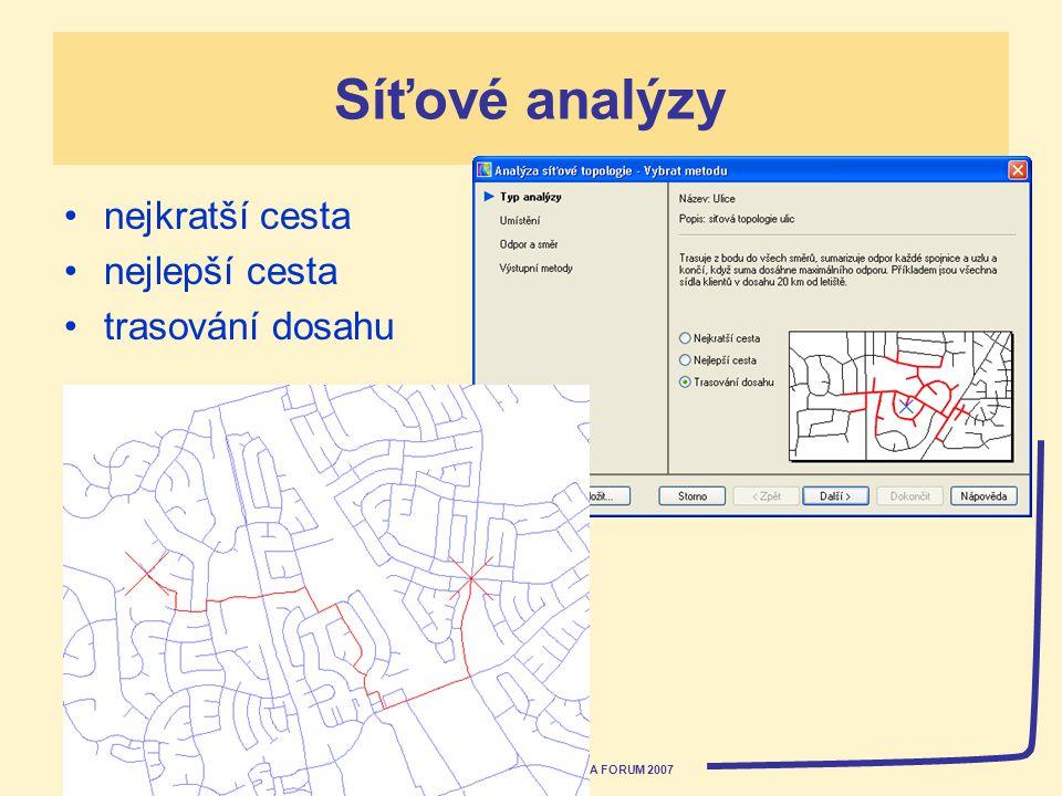 AUTODESK ACADEMIA FORUM 2007 Síťové analýzy nejkratší cesta nejlepší cesta trasování dosahu