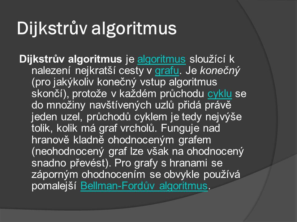 Dijkstrův algoritmus Dijkstrův algoritmus je algoritmus sloužící k nalezení nejkratší cesty v grafu.