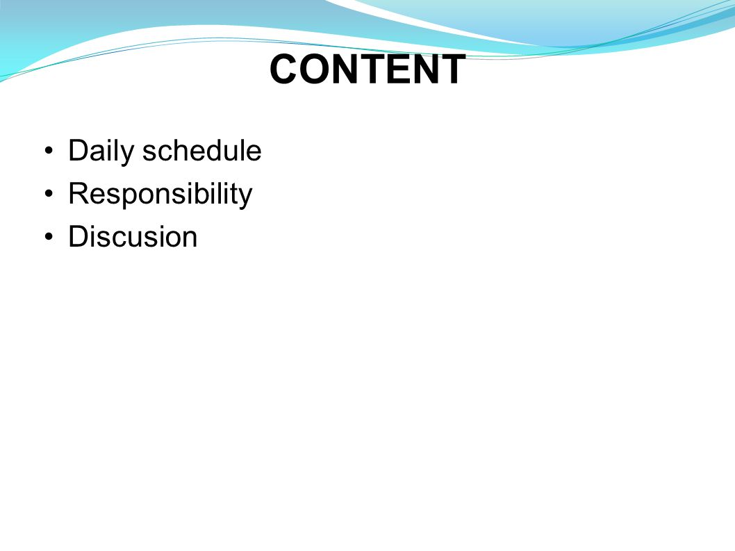 CONTENT Daily schedule Responsibility Discusion
