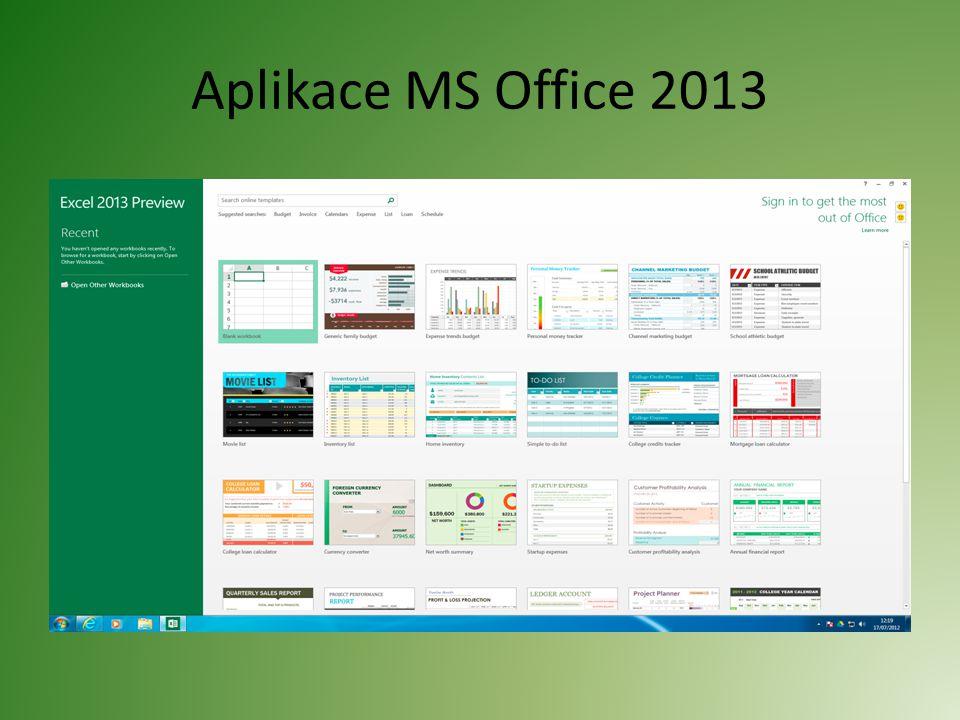 Aplikace MS Office 2013