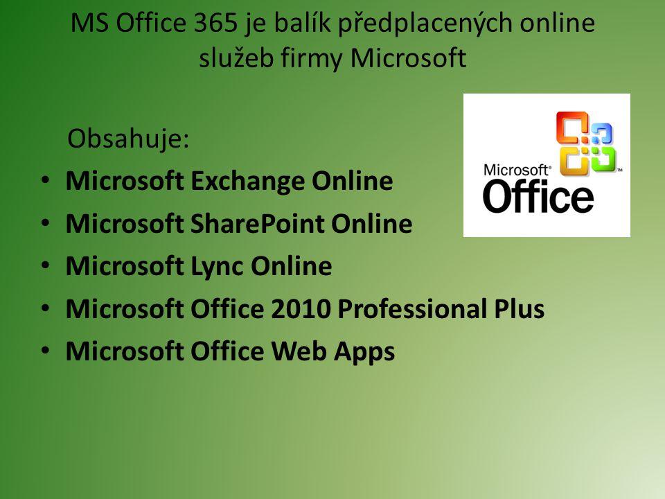 MS Office 365 je balík předplacených online služeb firmy Microsoft Obsahuje: Microsoft Exchange Online Microsoft SharePoint Online Microsoft Lync Online Microsoft Office 2010 Professional Plus Microsoft Office Web Apps