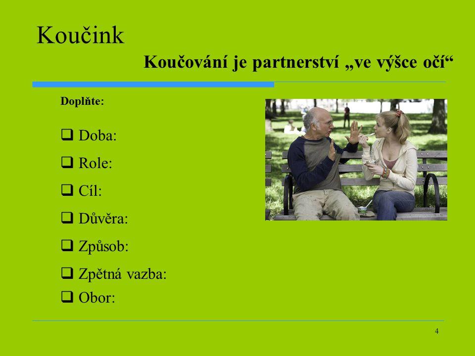 """4 Koučink  Doba:  Role:  Cíl:  Důvěra:  Způsob:  Zpětná vazba:  Obor: Koučování je partnerství """"ve výšce očí"""" Doplňte:"""