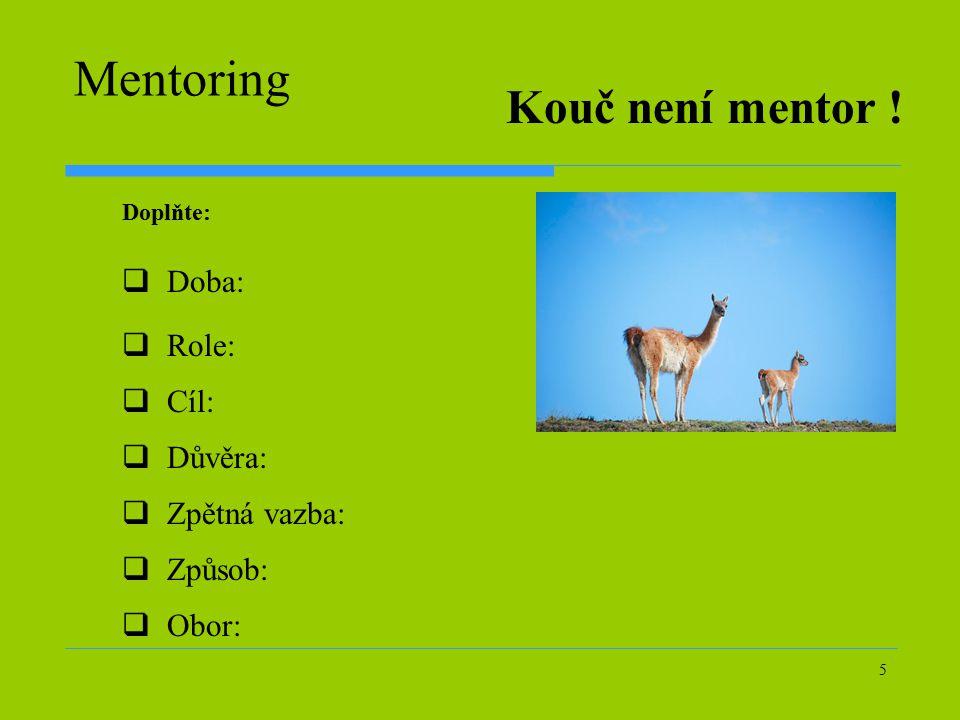 5 Mentoring  Doba:  Role:  Cíl:  Důvěra:  Způsob:  Zpětná vazba:  Obor: Kouč není mentor .