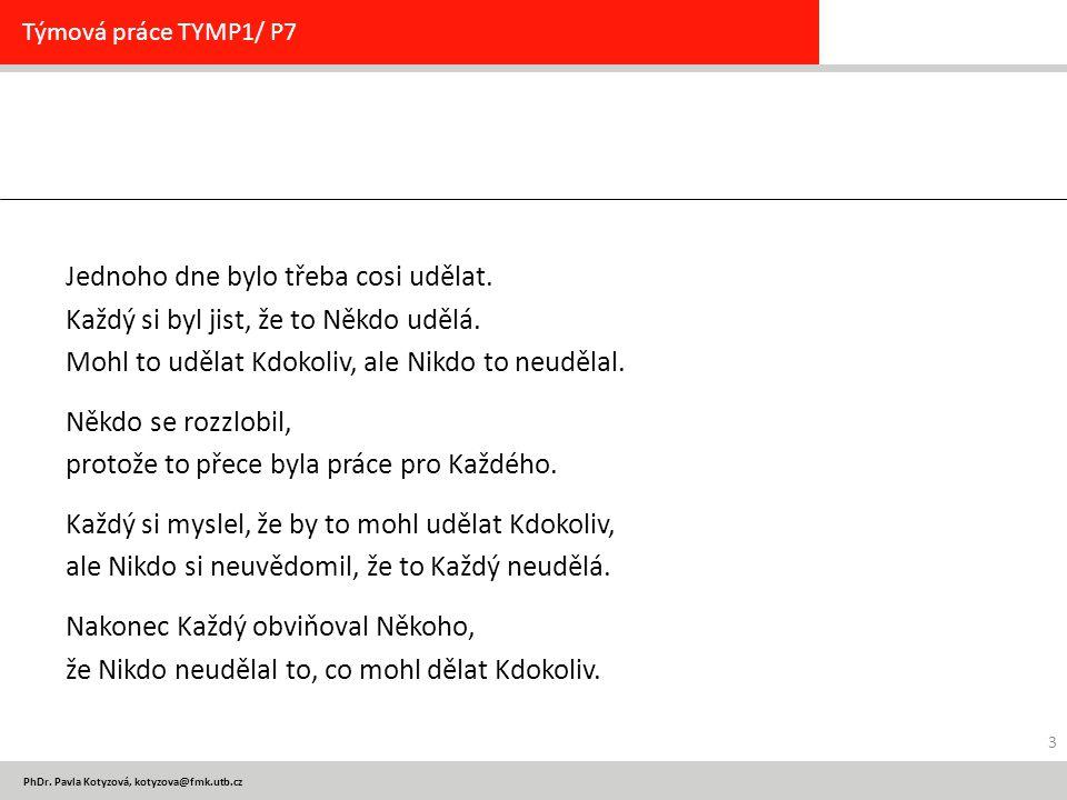 PhDr. Pavla Kotyzová, kotyzova@fmk.utb.cz Jednoho dne bylo třeba cosi udělat. Každý si byl jist, že to Někdo udělá. Mohl to udělat Kdokoliv, ale Nikdo