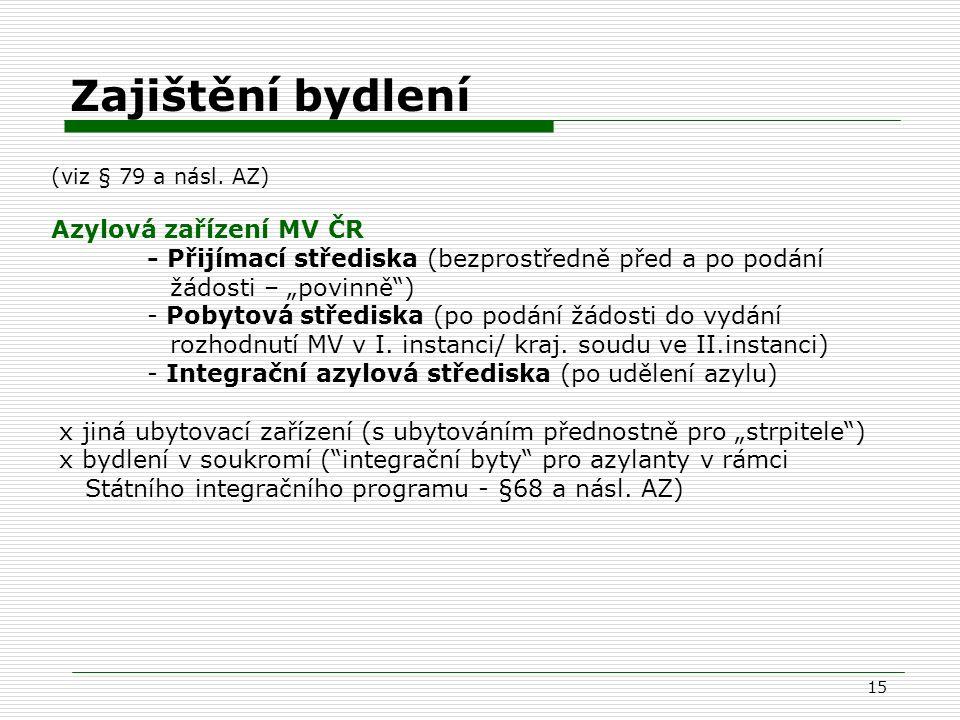 """15 Zajištění bydlení (viz § 79 a násl. AZ) Azylová zařízení MV ČR - Přijímací střediska (bezprostředně před a po podání žádosti – """"povinně"""") - Pobytov"""